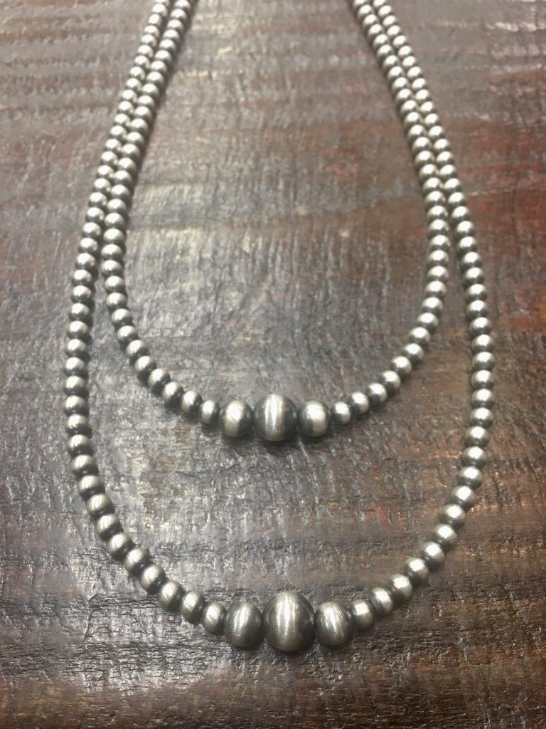 "Accessorize In Style Sterling Navajo Pearls Navajo Pearl 4mm Varied Necklace - 14"" - 18"""