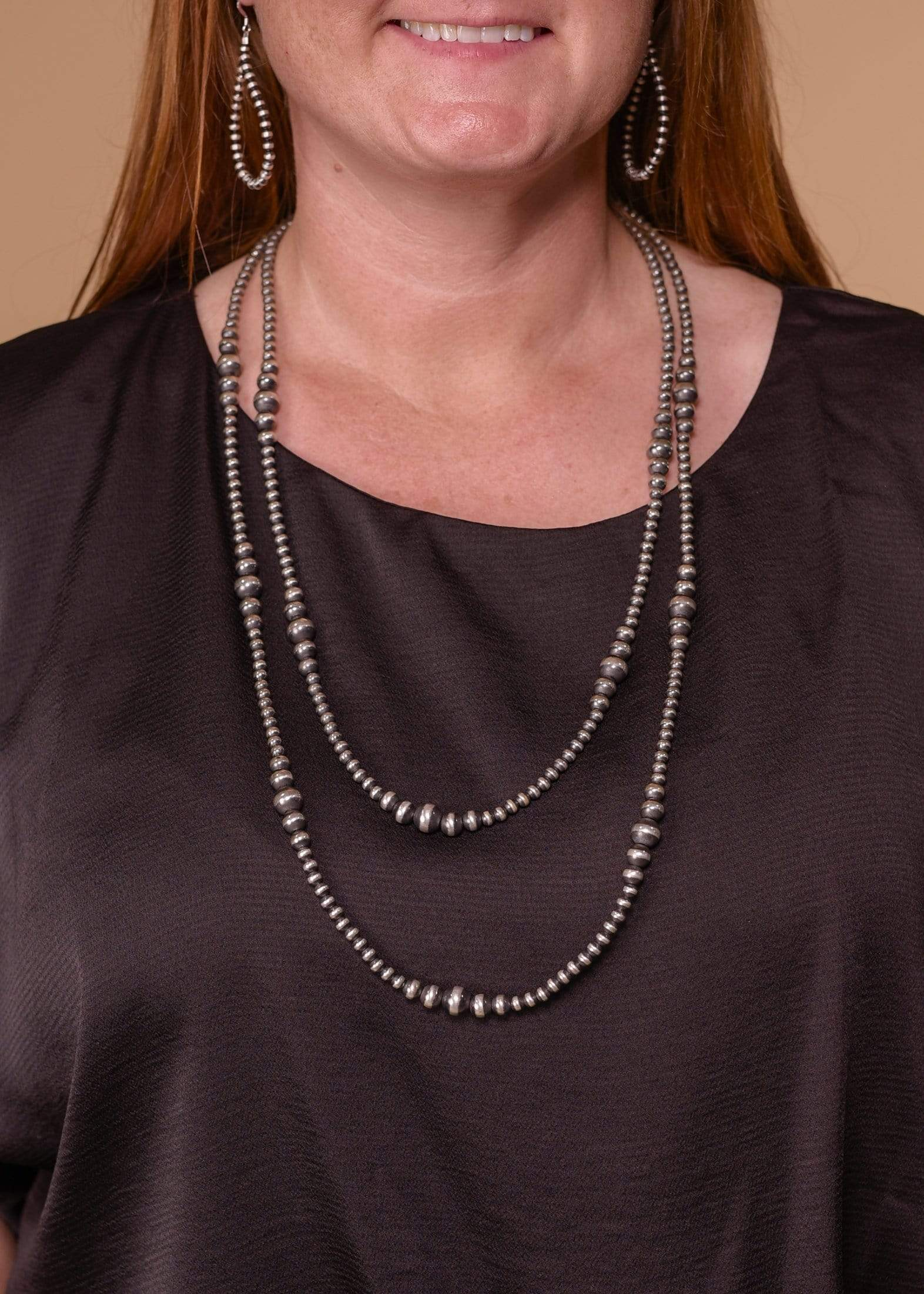 "Accessorize In Style Sterling Navajo Pearls Navajo Pearls with Variating Beads - 30"" - 36"""