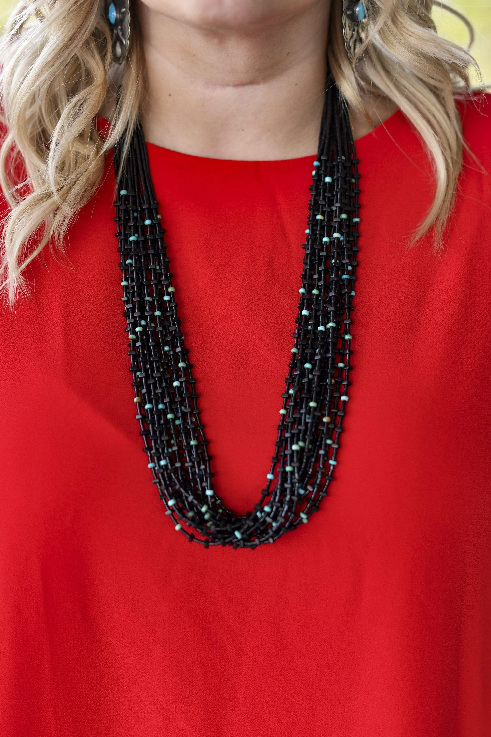 15 Strand Black & Turquoise Heishi Necklace