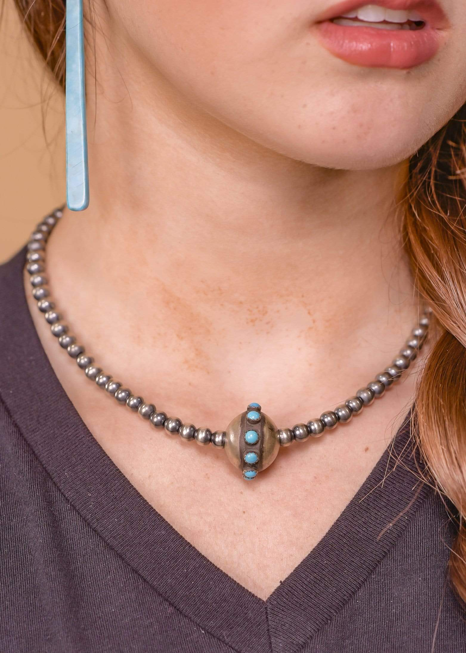 Accessorize In Style Sterling Necklaces 5mm Navajo Pearl Necklace With Turquoise Snake Eye Details - 16""