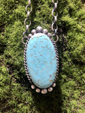 Accessorize In Style Sterling Necklaces #8 Mine Turquoise Pendant with Chain - Oval