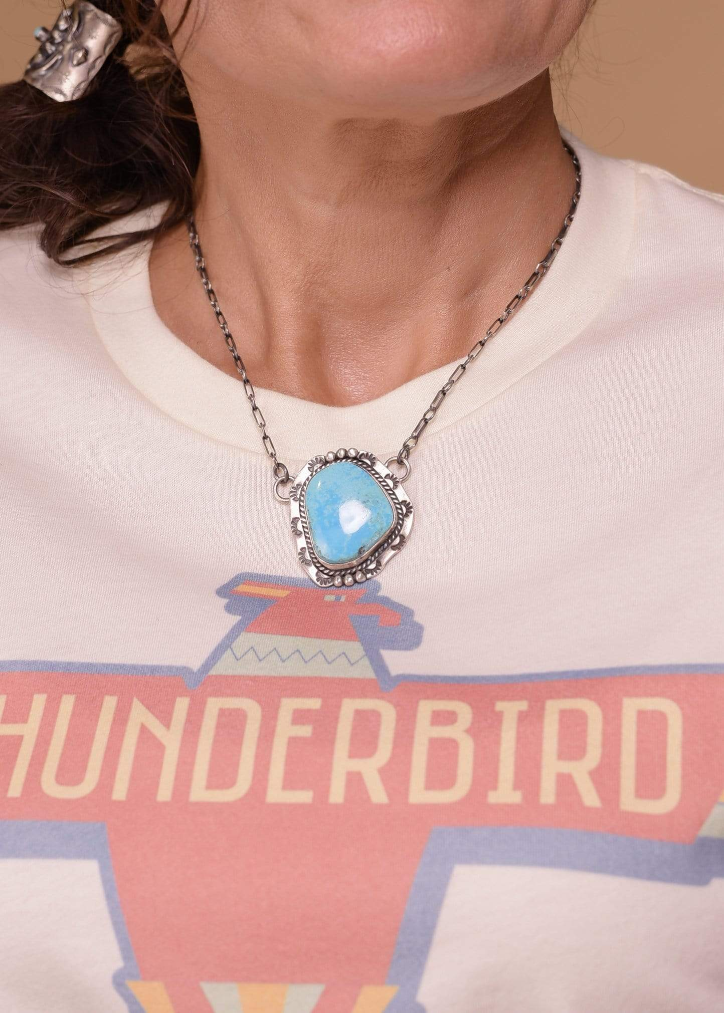Accessorize In Style Sterling Necklaces Kingman Turquoise Pendant with Chain and Engraving