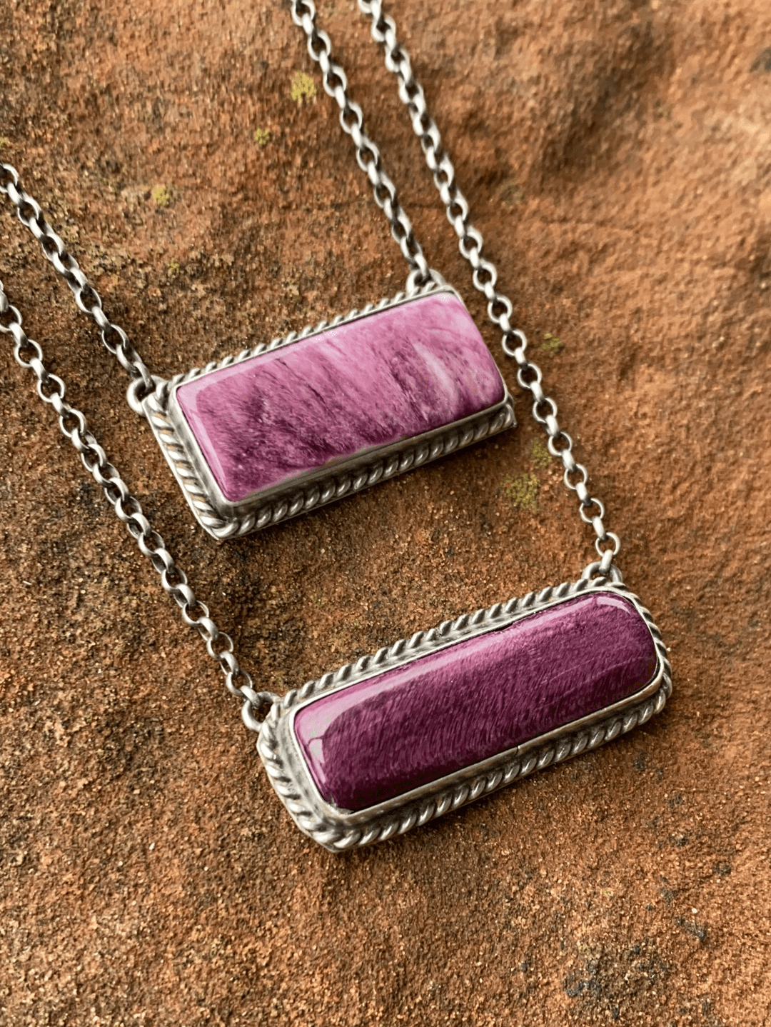 Lynn Roped Purple Bar Necklace