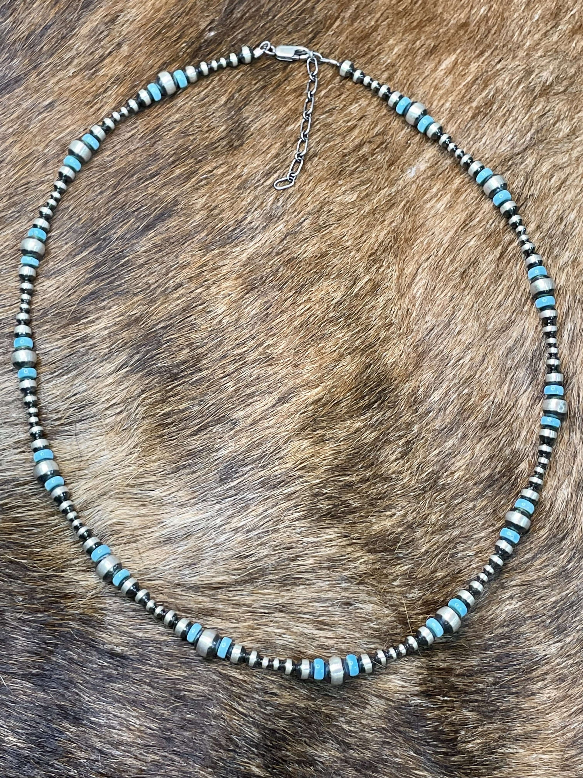 May Turquoise & Varied Navajo Bead Necklace