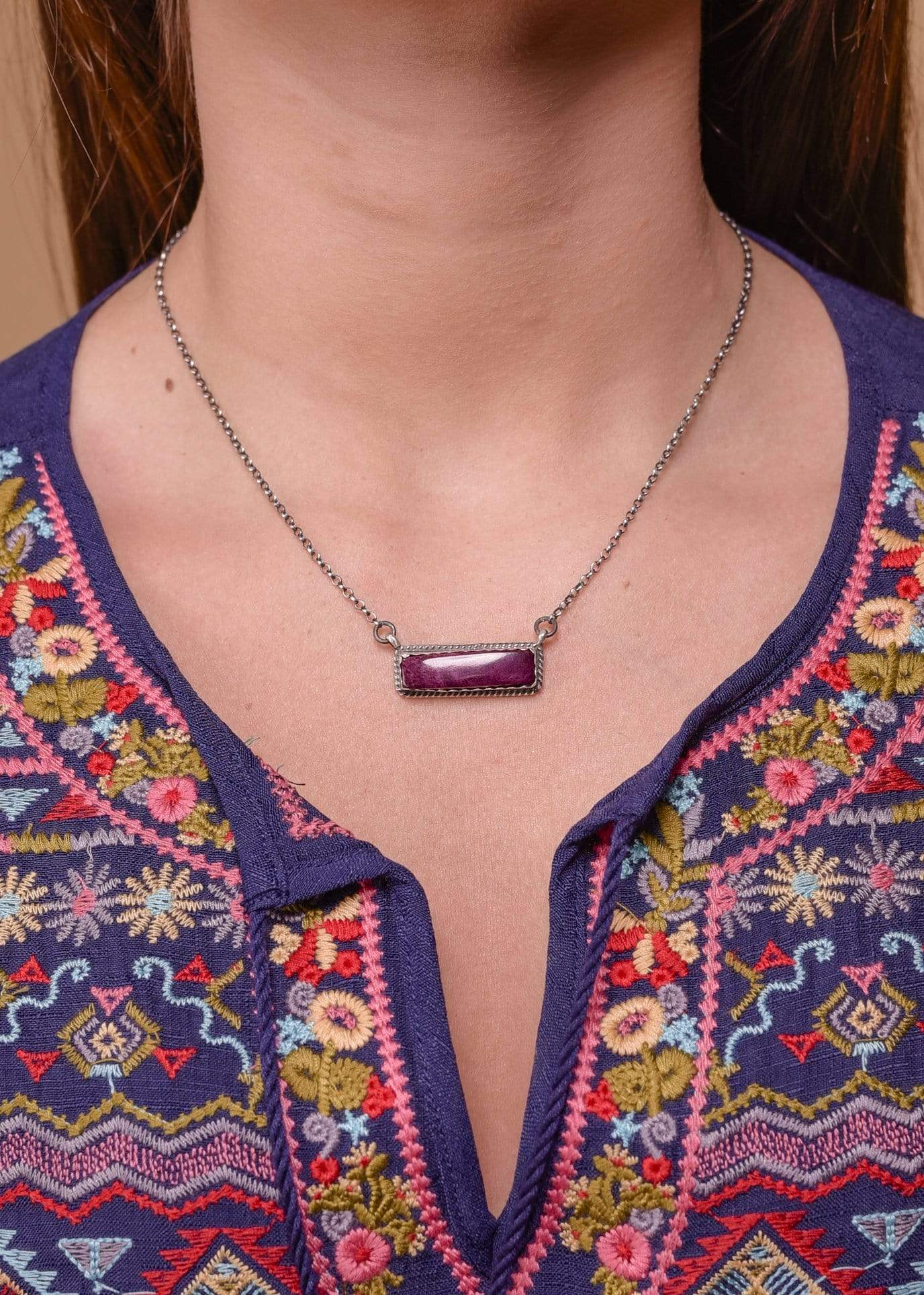 Accessorize In Style Sterling Necklaces Purple Spiny Oyster Bar Necklace - Small