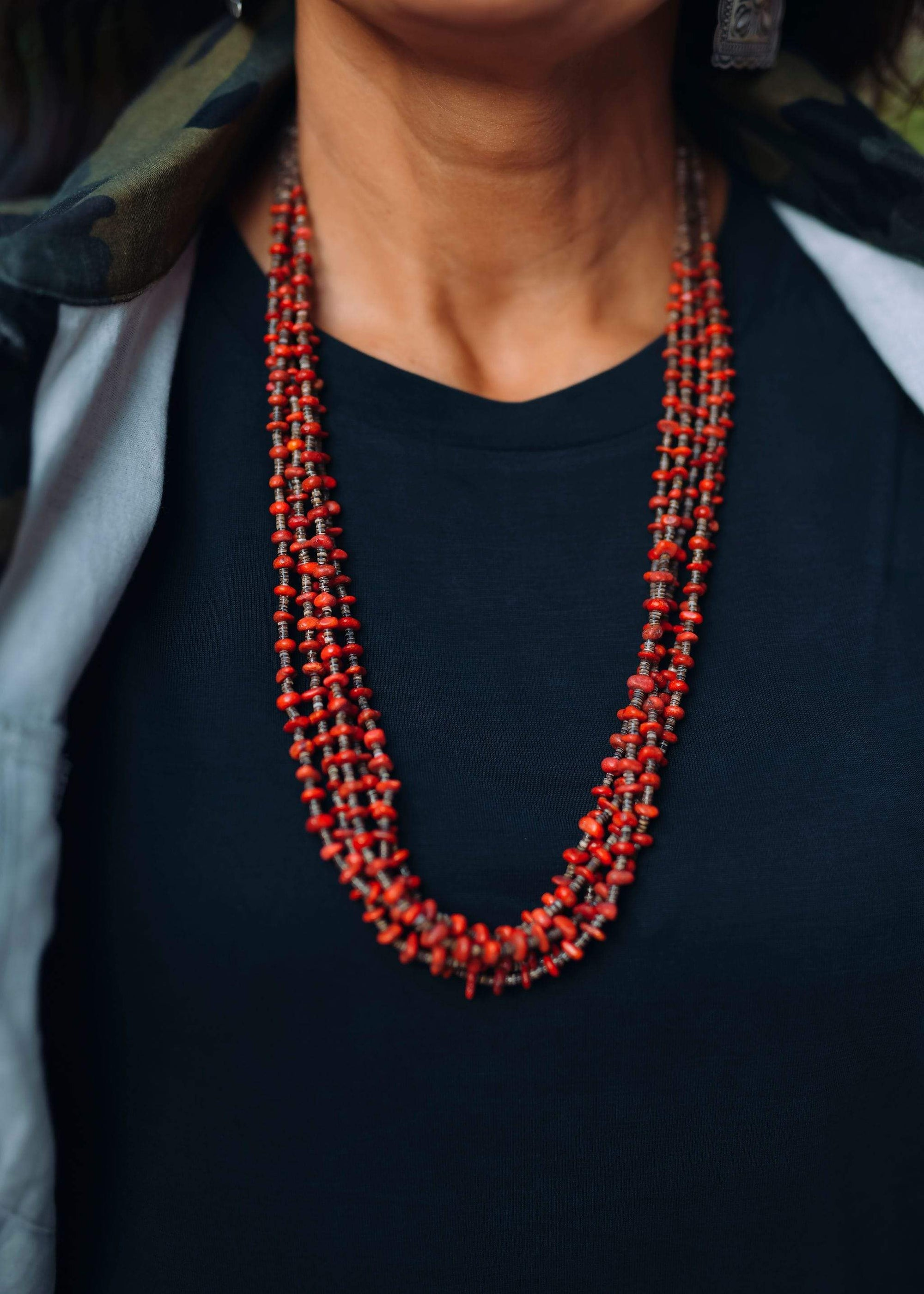 Ruby Red Coral 5 Strand Necklace