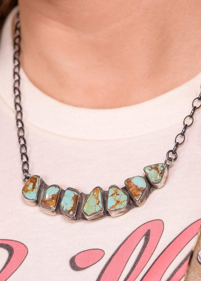 Accessorize In Style Sterling Necklaces Sterling 7 Stoned Bar Necklace - Kingman Turquoise
