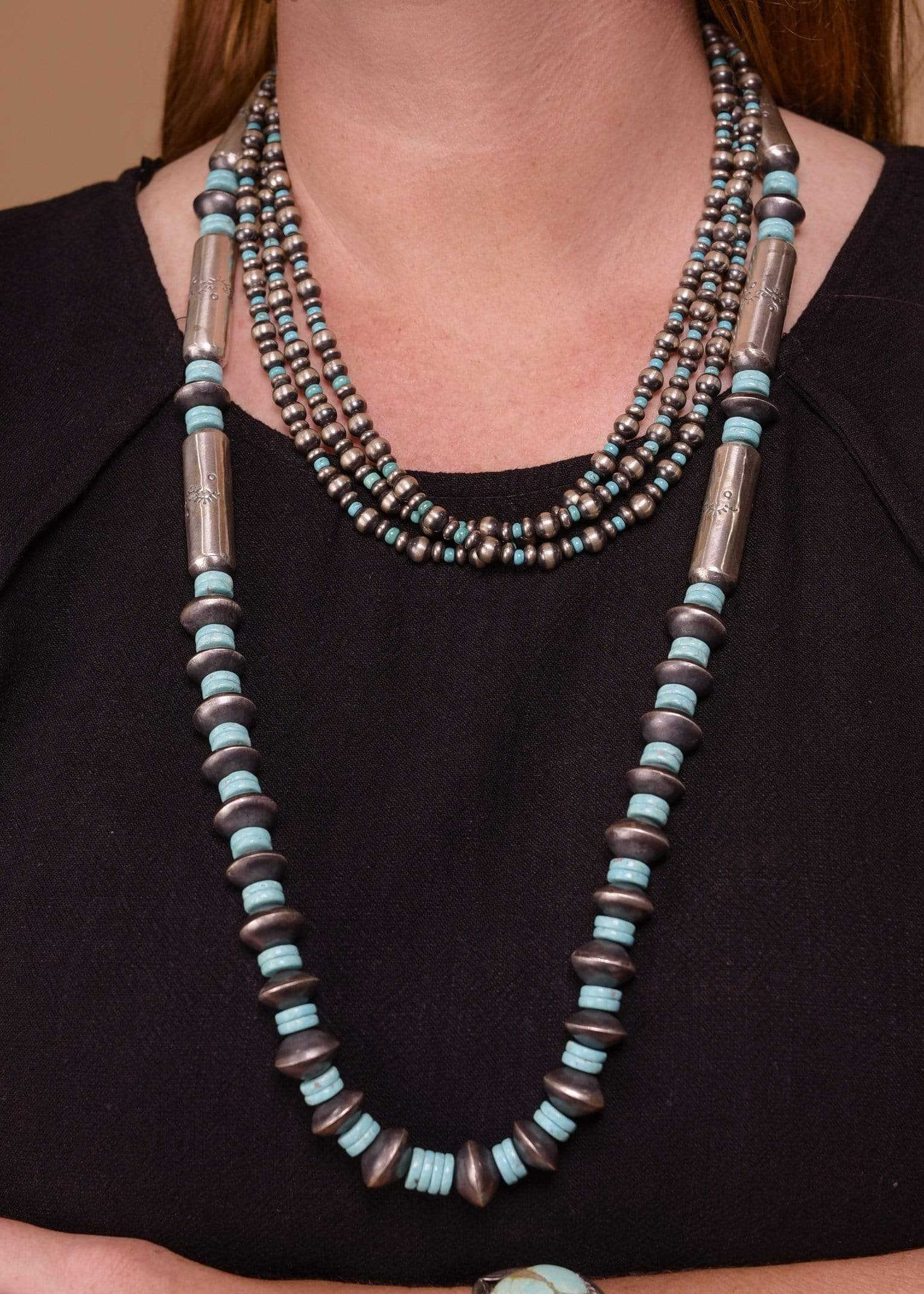 Sterling Disc and Cylinder Navajo Pearl with Turquoise Detailing - 30""