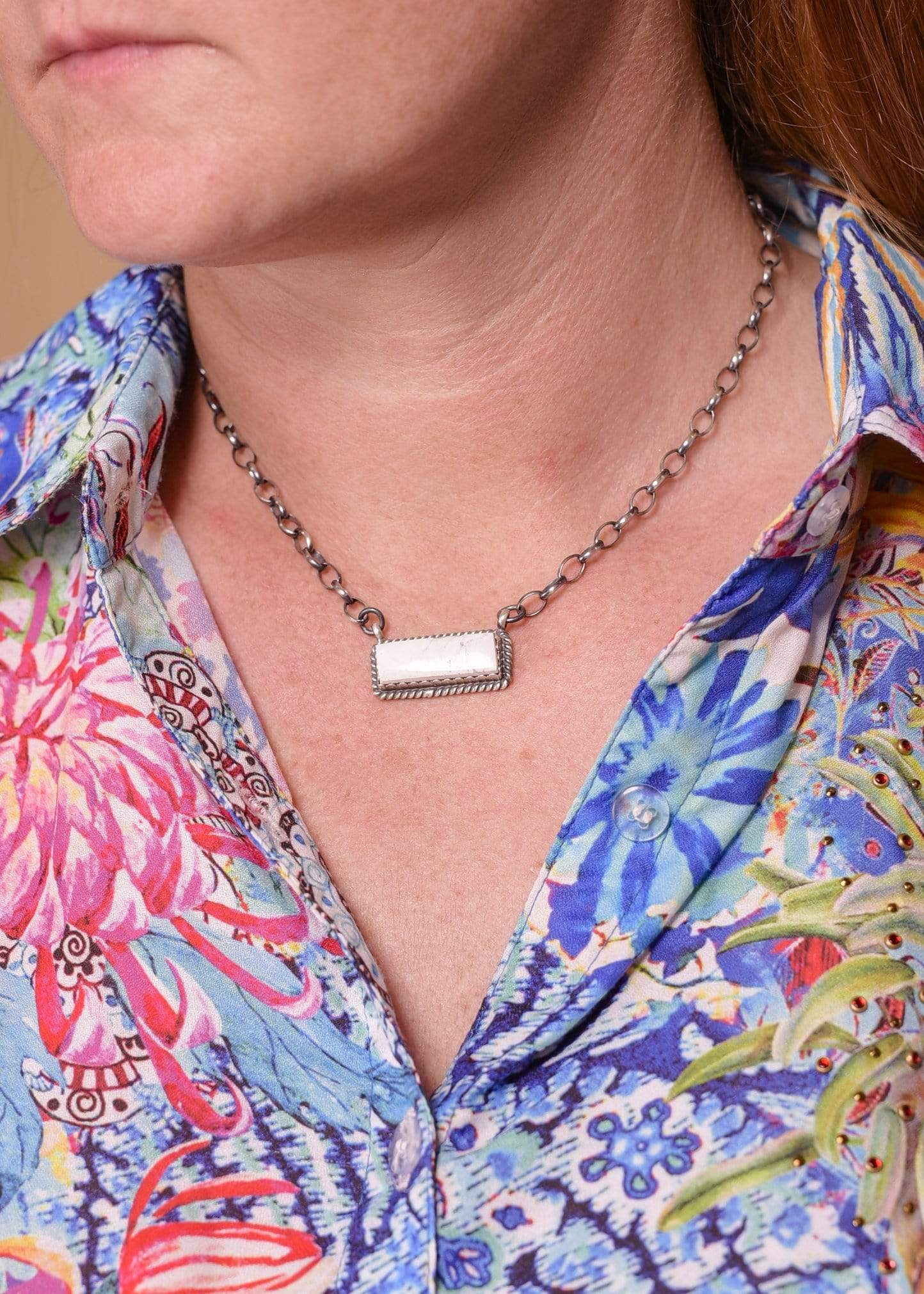 Accessorize In Style Sterling Necklaces White Buffalo Bar Necklace - Large