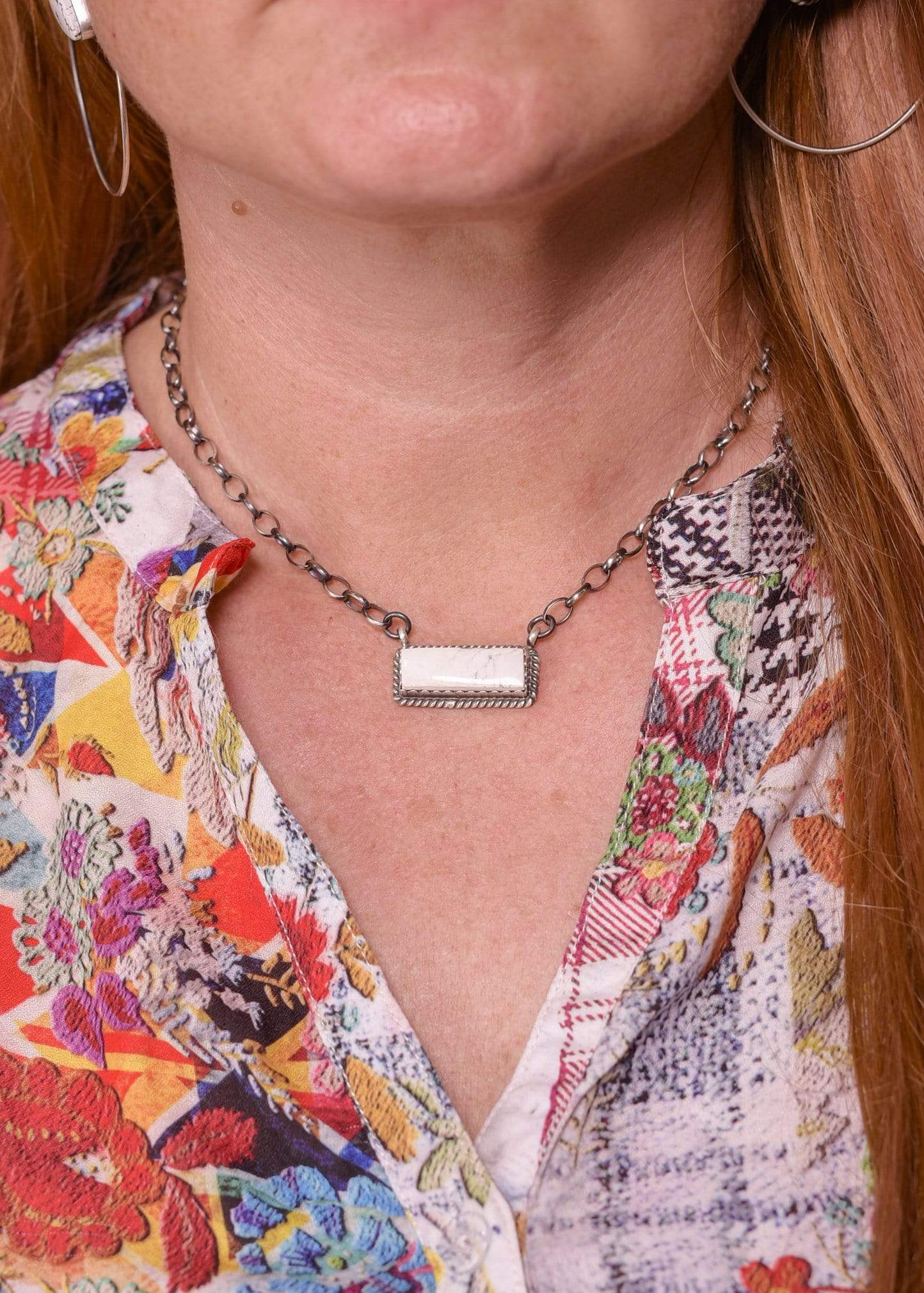 Accessorize In Style Sterling Necklaces White Buffalo Bar Necklace - Small