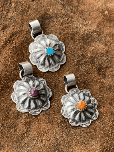 Accessorize In Style Sterling Pendants April Round Sterling Concho Pendant With Stone Accent