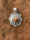 Accessorize In Style Sterling Pendants Orange April Round Sterling Concho Pendant With Stone Accent