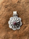 Accessorize In Style Sterling Pendants Purple April Round Sterling Concho Pendant With Stone Accent