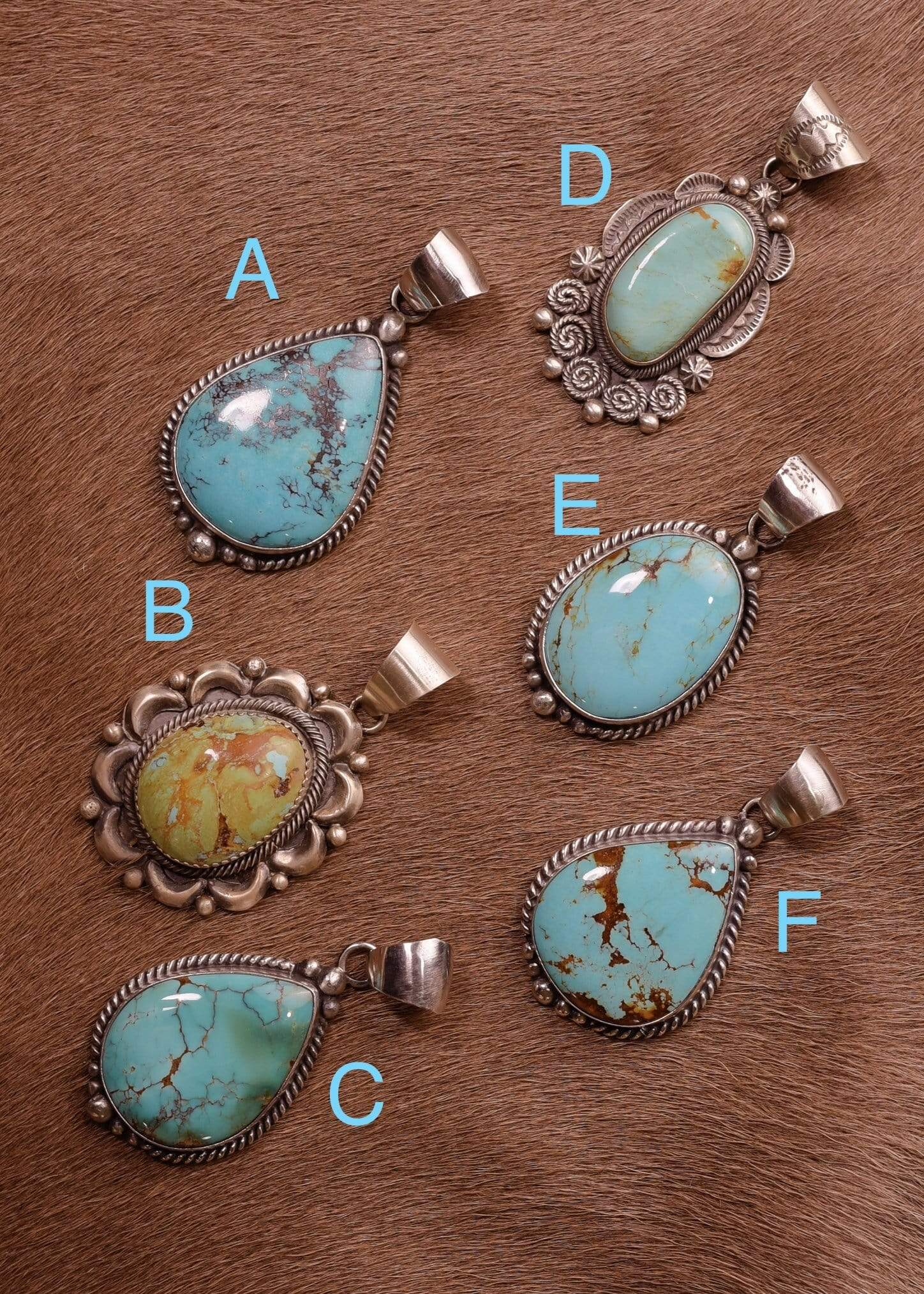 Sterling Kingman Turquoise Pendants A - F