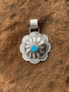 Accessorize In Style Sterling Pendants Turquoise April Round Sterling Concho Pendant With Stone Accent