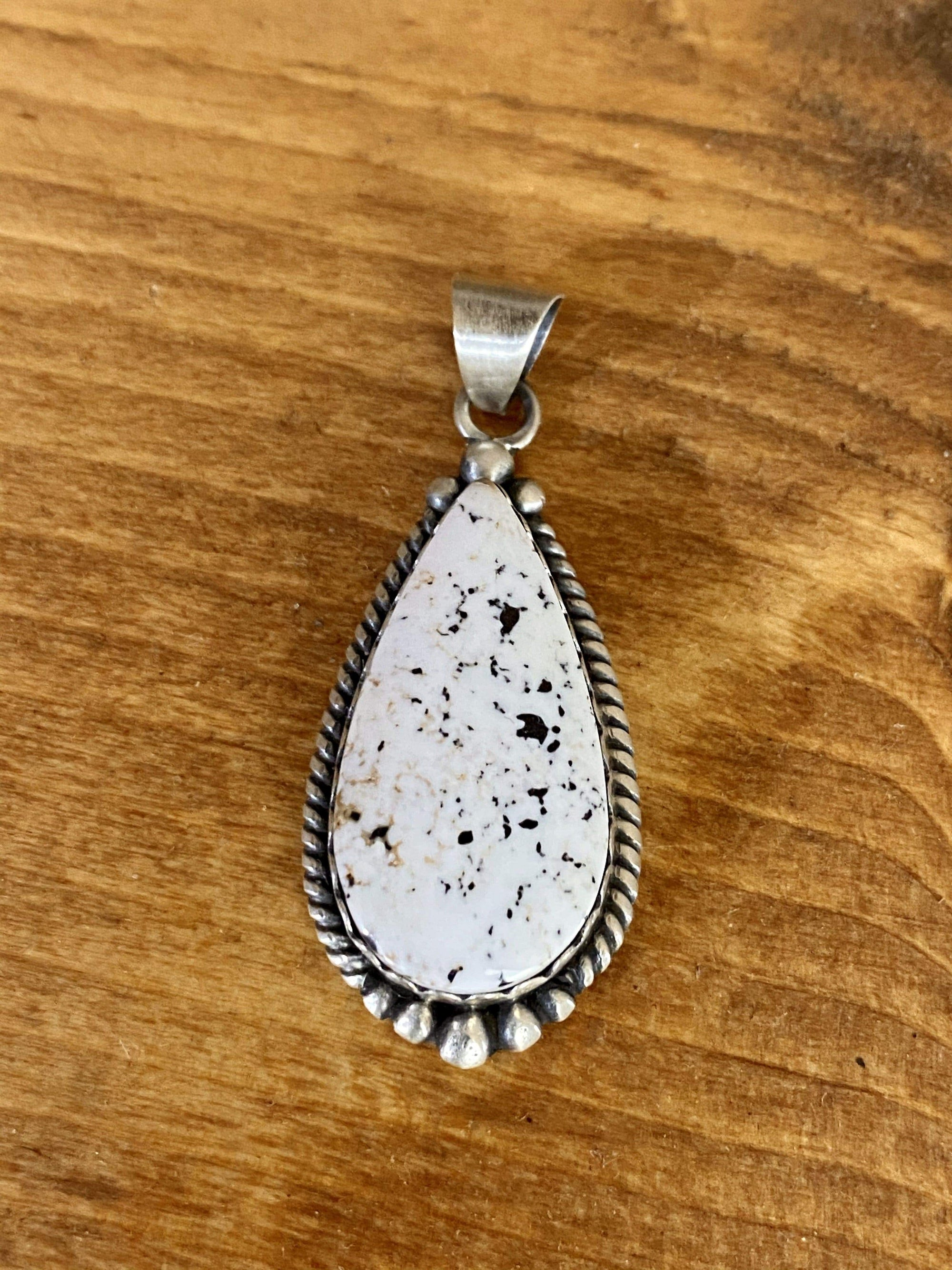 White Buffalo Teardrop Sterling Pendant