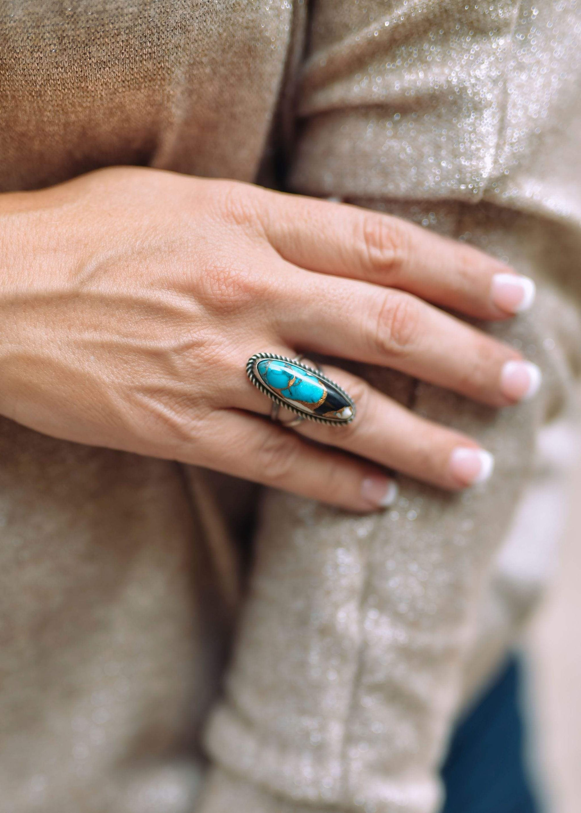 Charlie Sterling Turquoise White Buffalo Rings