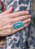 Accessorize In Style Sterling Rings Cinta Turquoise Cluster Ring - Size 6.5