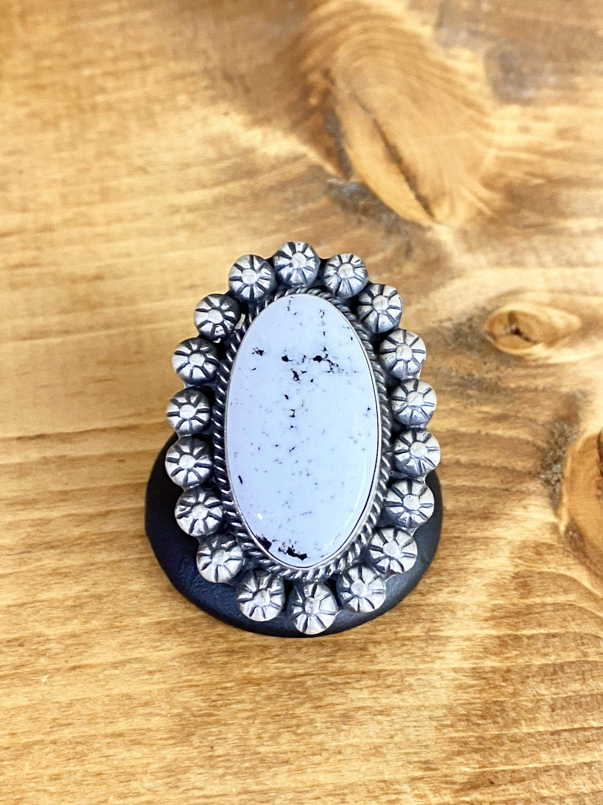 Desert Sky Silver and White Buffalo Ring