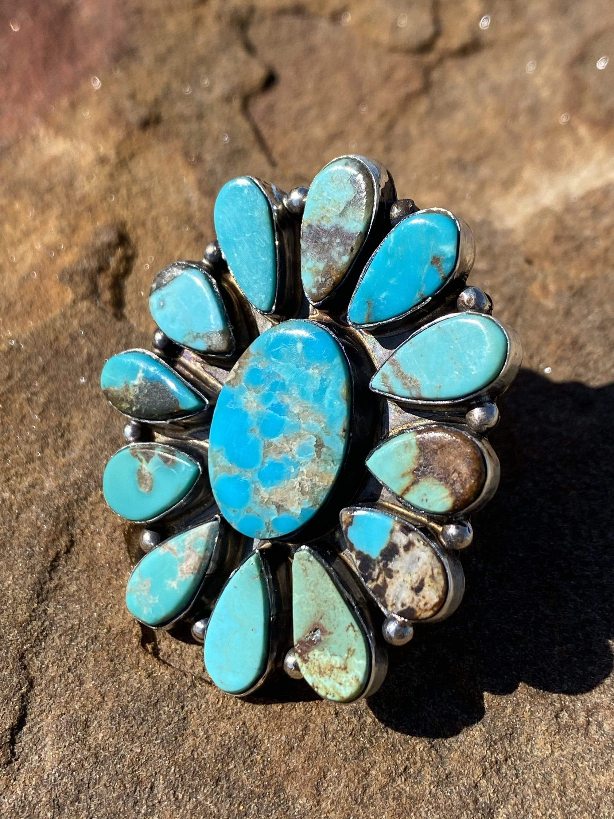 Accessorize In Style Sterling Rings Leah Turquoise Ring - size 8.5