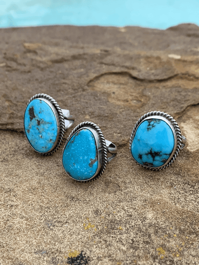 Accessorize In Style Sterling Rings Lola Sterling Roped Turquoise Double Band Ring