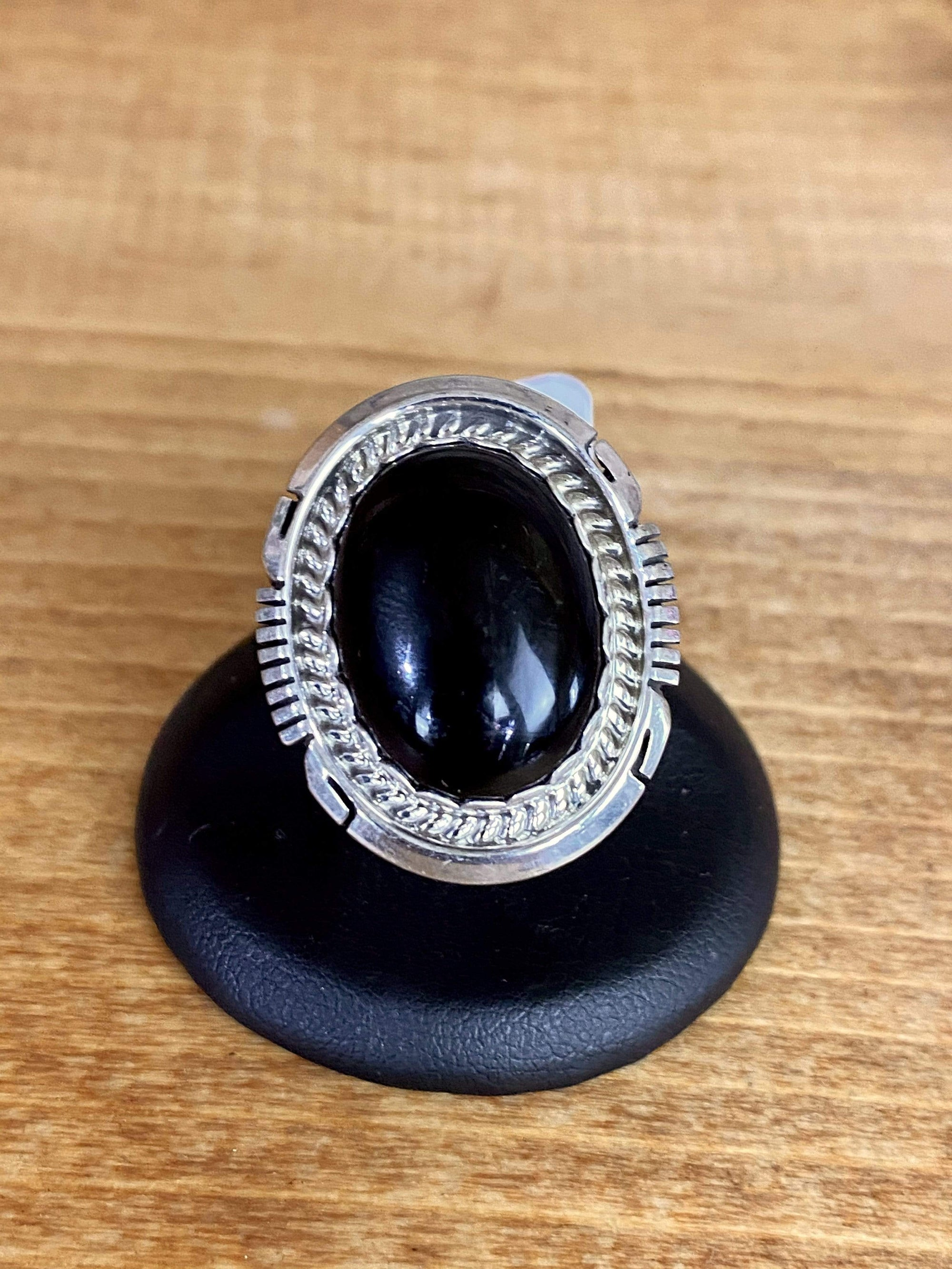 Accessorize In Style Sterling Rings Onyx Ring With Rope Edge