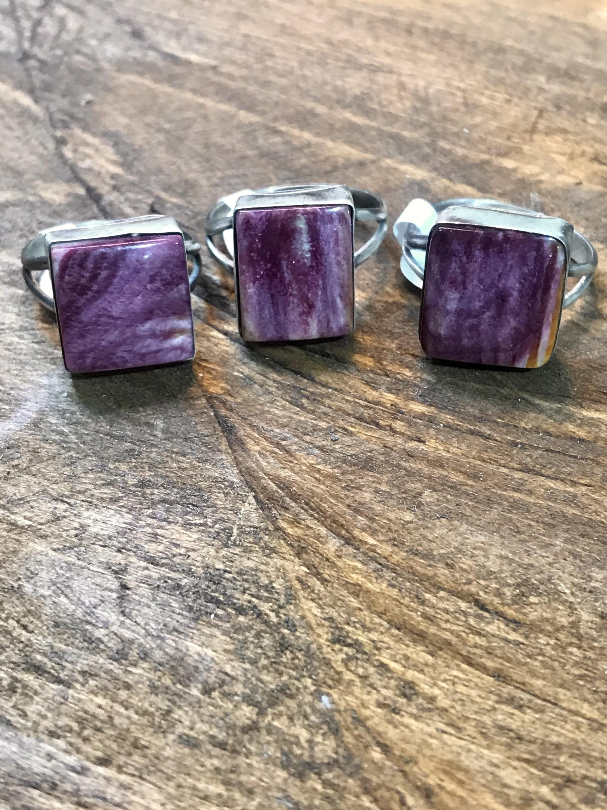 Paisley Sterling Purple Spiny Square Ring