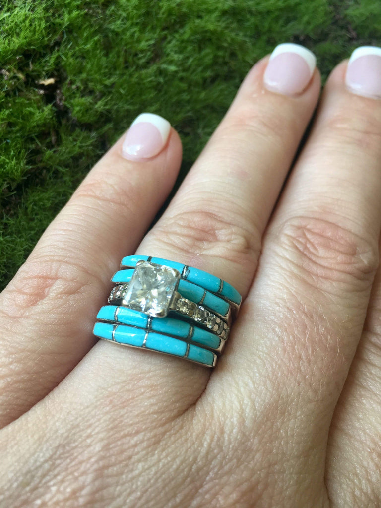 Accessorize In Style Sterling Rings Slim Turquoise Stacker Rings - Blue