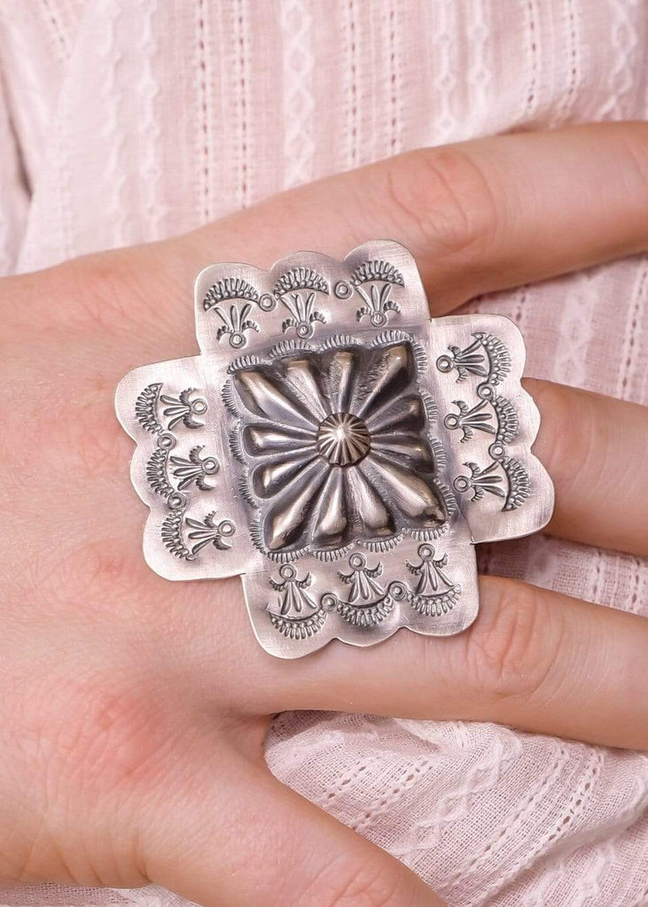 Accessorize In Style Sterling Rings Sterling Cross Concho Ring - Size 8.5