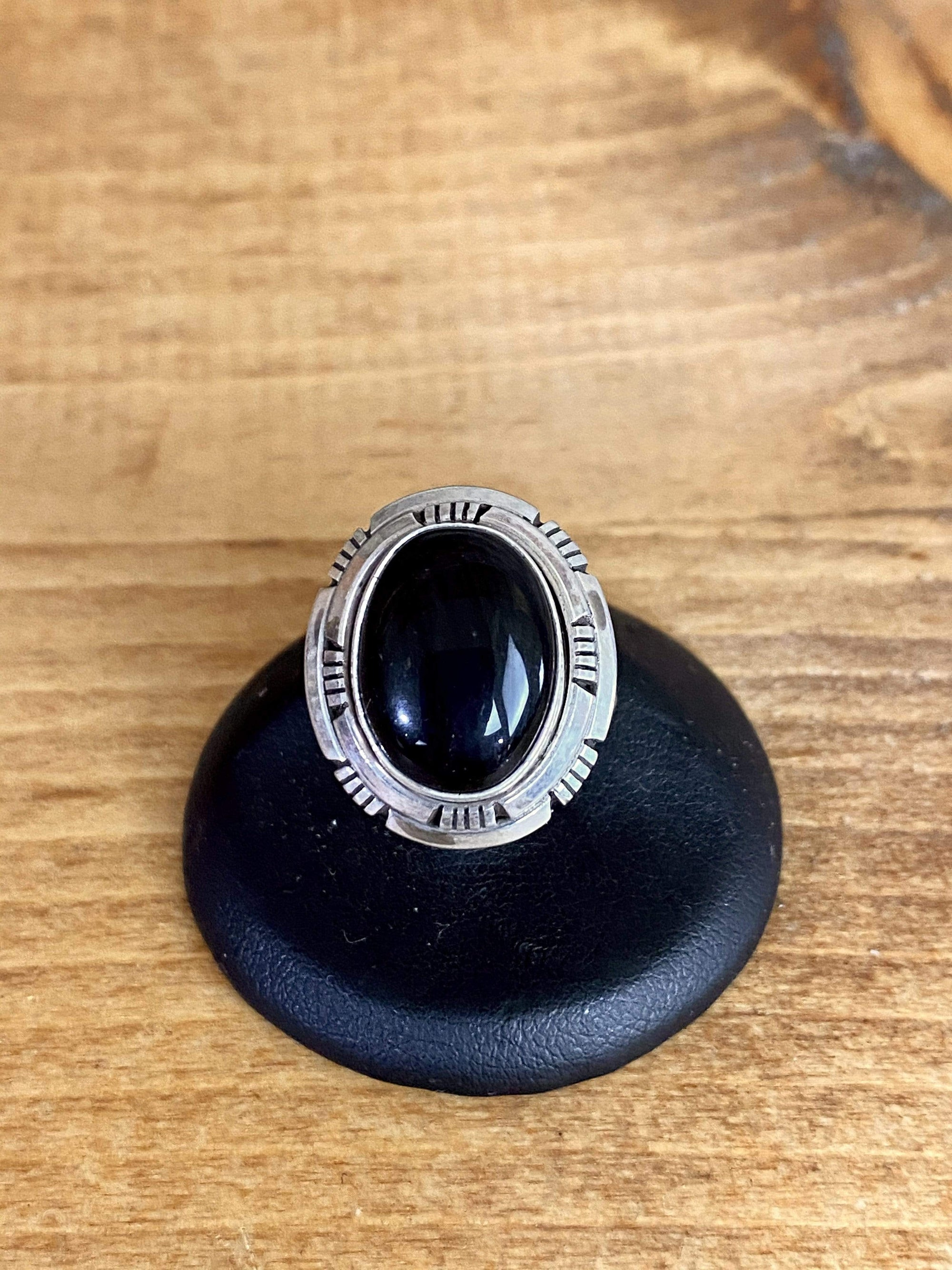 Accessorize In Style Sterling Rings Sterling Onyx Notched Edge Ring