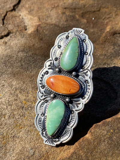 Accessorize In Style Sterling Rings Sunrise Turquoise & Spiny Triple Stone Ring - size 8