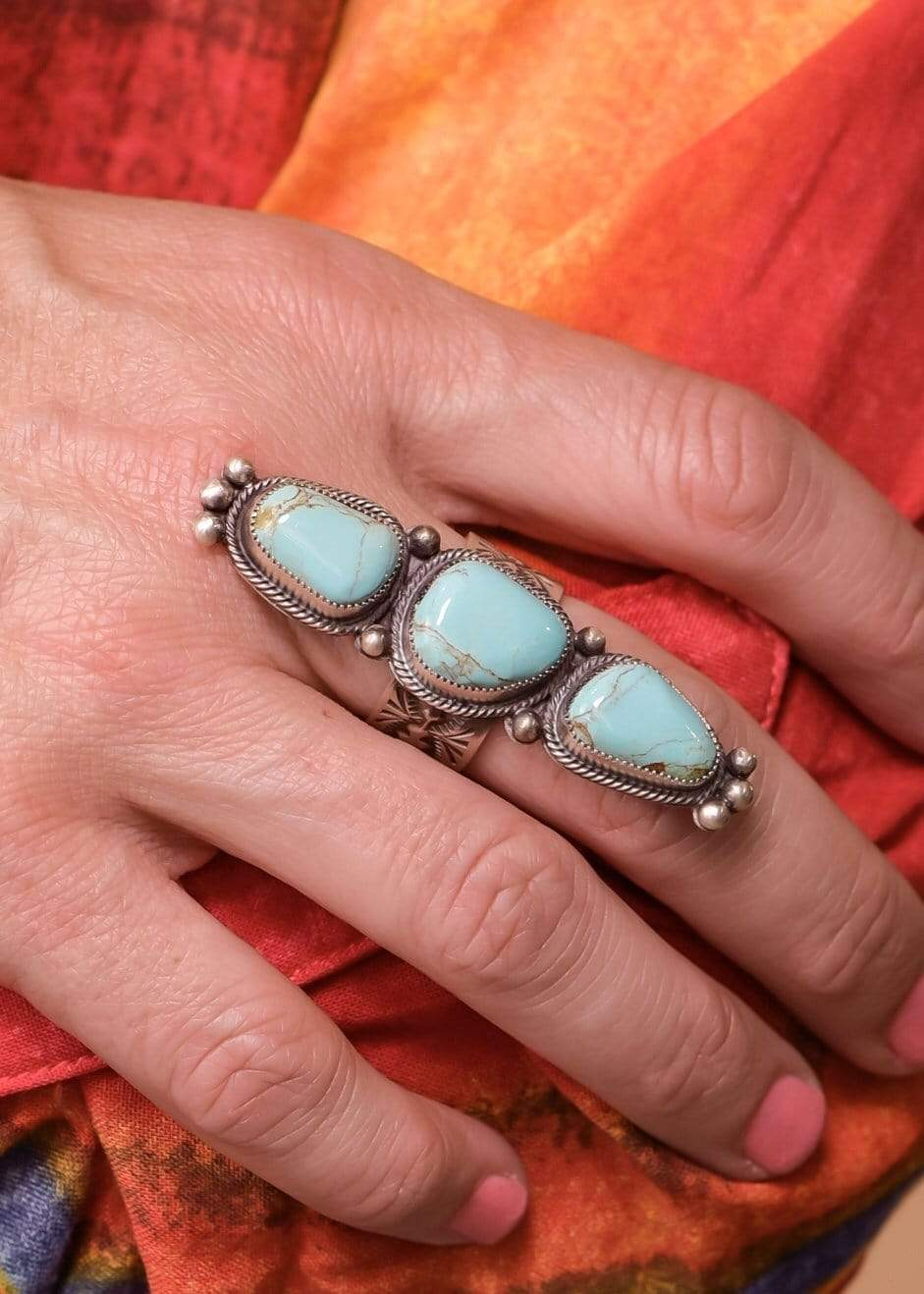 Accessorize In Style Sterling Rings Turquoise 3 Stone Ring With Ball Detail On Ends - Size 9