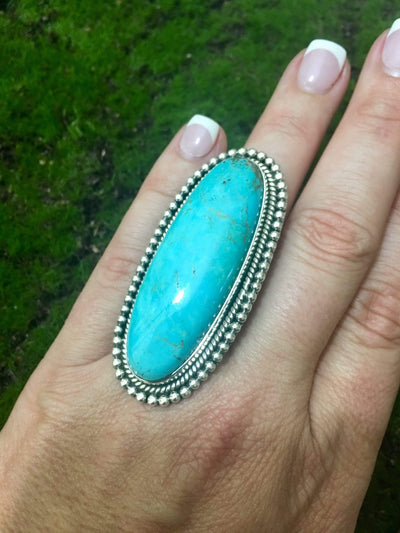 Accessorize In Style Sterling Rings Turquoise Oval Adjustable Ring
