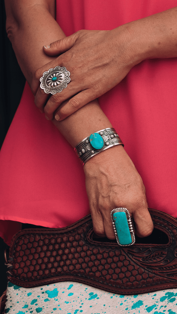 Accessorize In Style Sterling Rings Turquoise Rectangle Ring