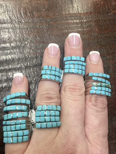 Accessorize In Style Sterling Rings Turquoise Stacker Rings - Blue