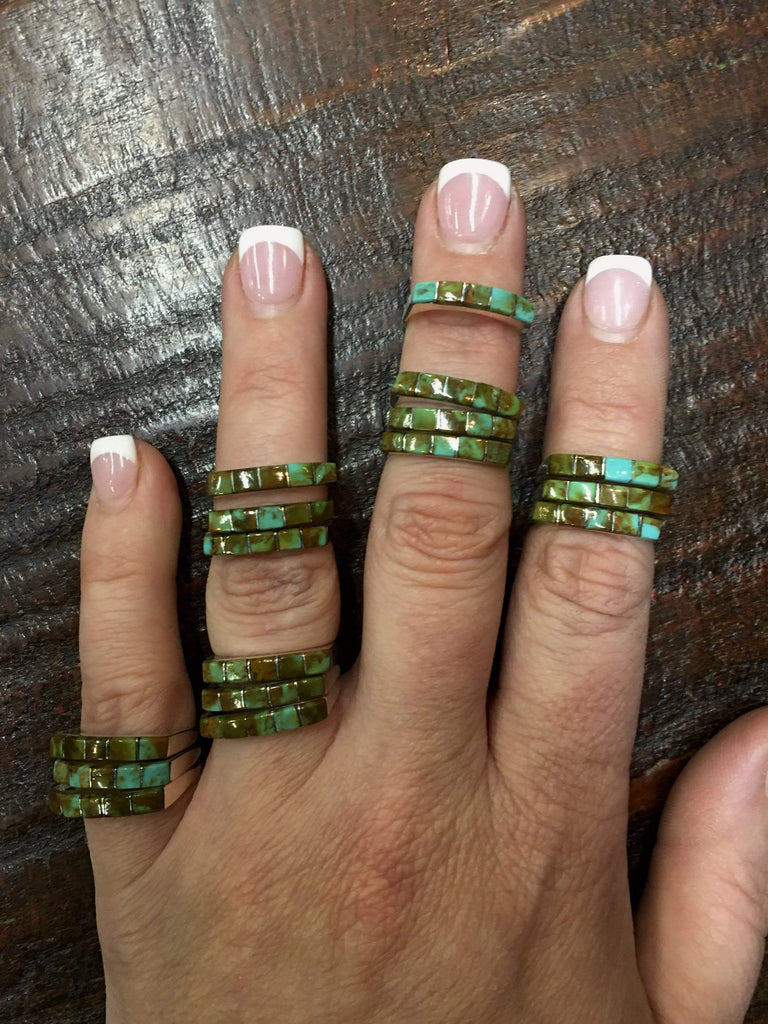Accessorize In Style Sterling Rings Turquoise Stacker Rings - Green