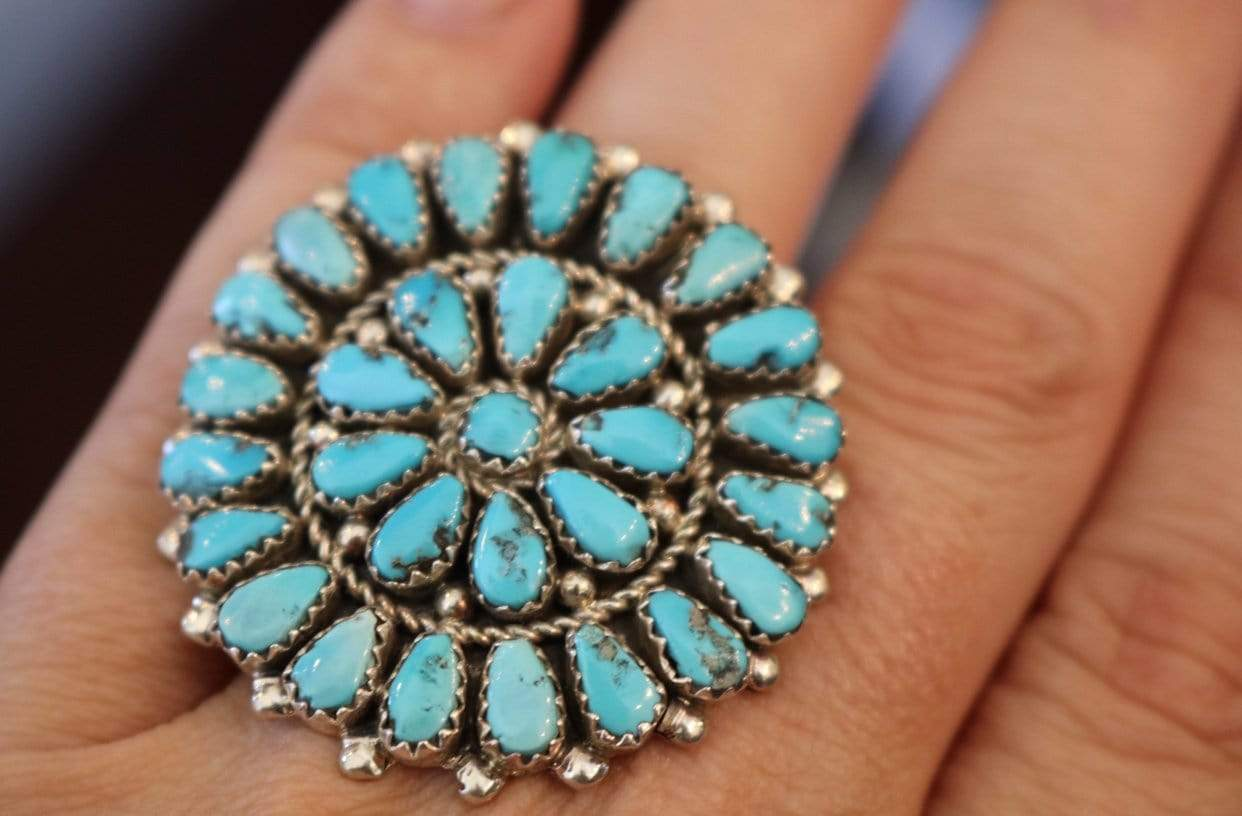 Accessorize In Style Sterling Rings Turquoise Zuni Cluster Ring