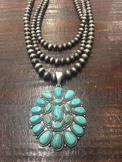 Accessorize In Style Turquoise Cluster 3 Strand Necklace
