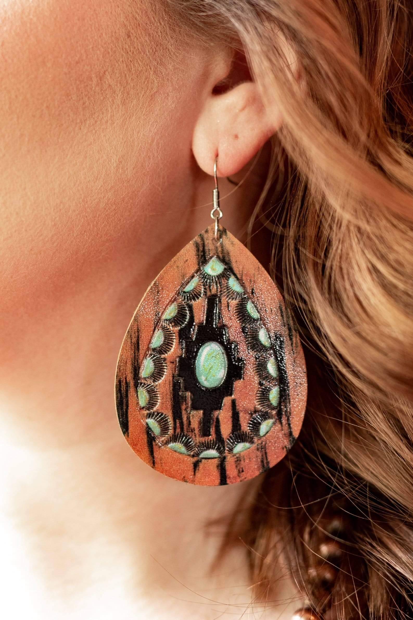 AccessorizeinStyle Fashion Earrings Aztec Stamped and Painted  Earrings
