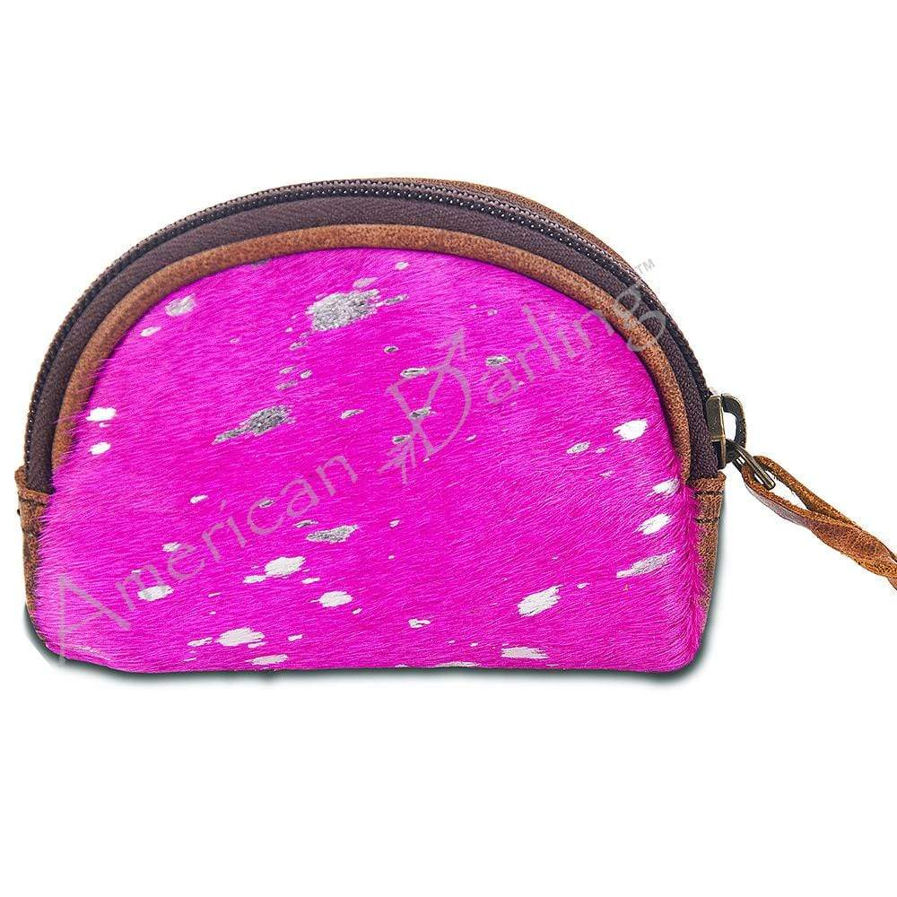 American Darling Accessories Specialty Cowhide Coin Purse - Pink