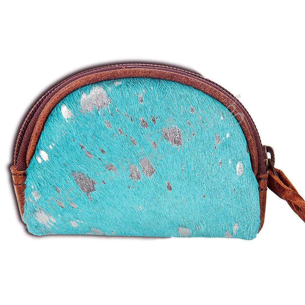 American Darling Accessories Specialty Cowhide Coin Purse - Turquoise