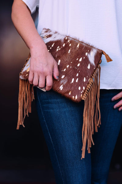 American Darling Handbags Acid Cowhide Fringe Crossbody - Brown