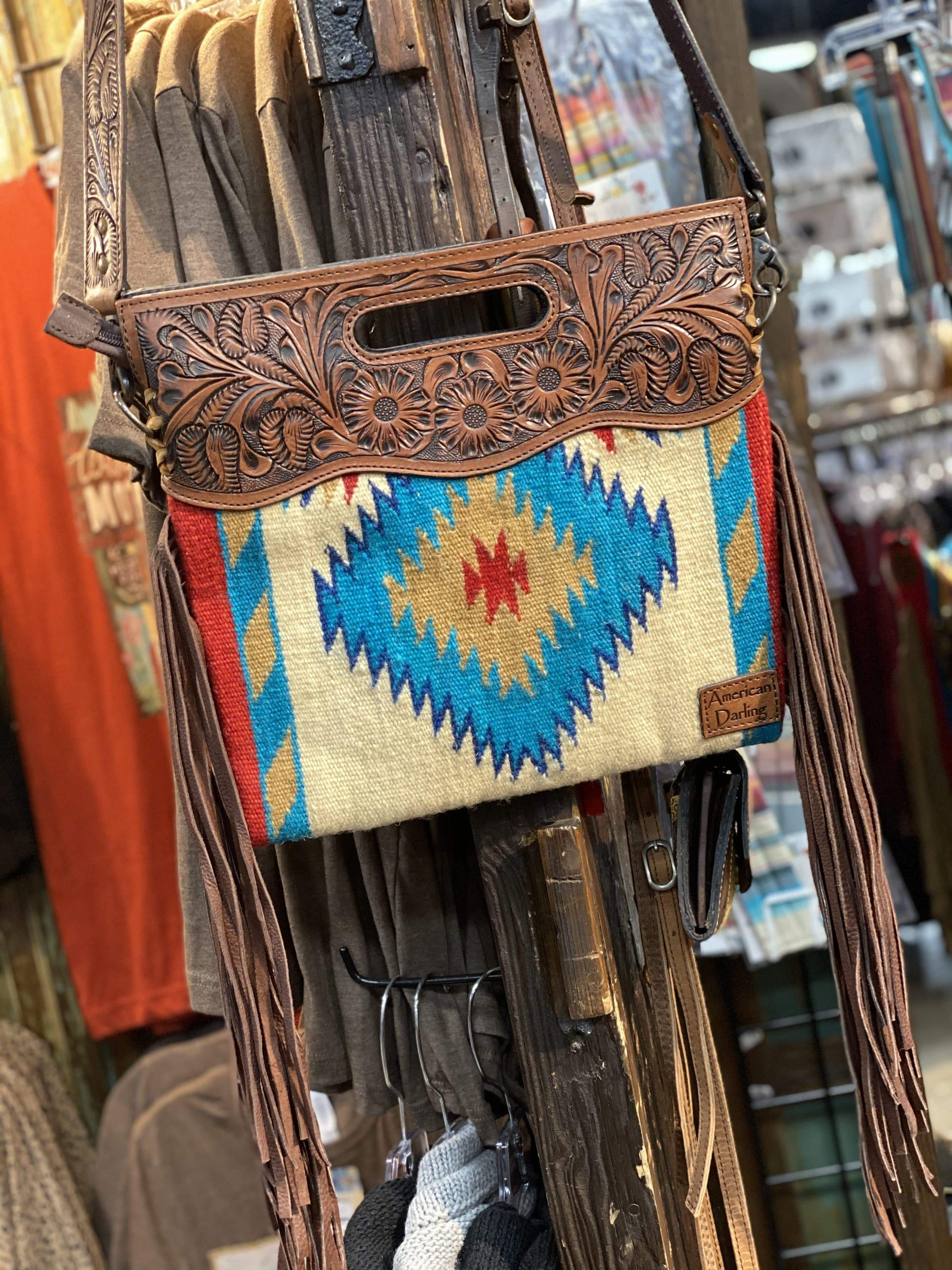 Aztec Tooled Leather Clutch Crossbody