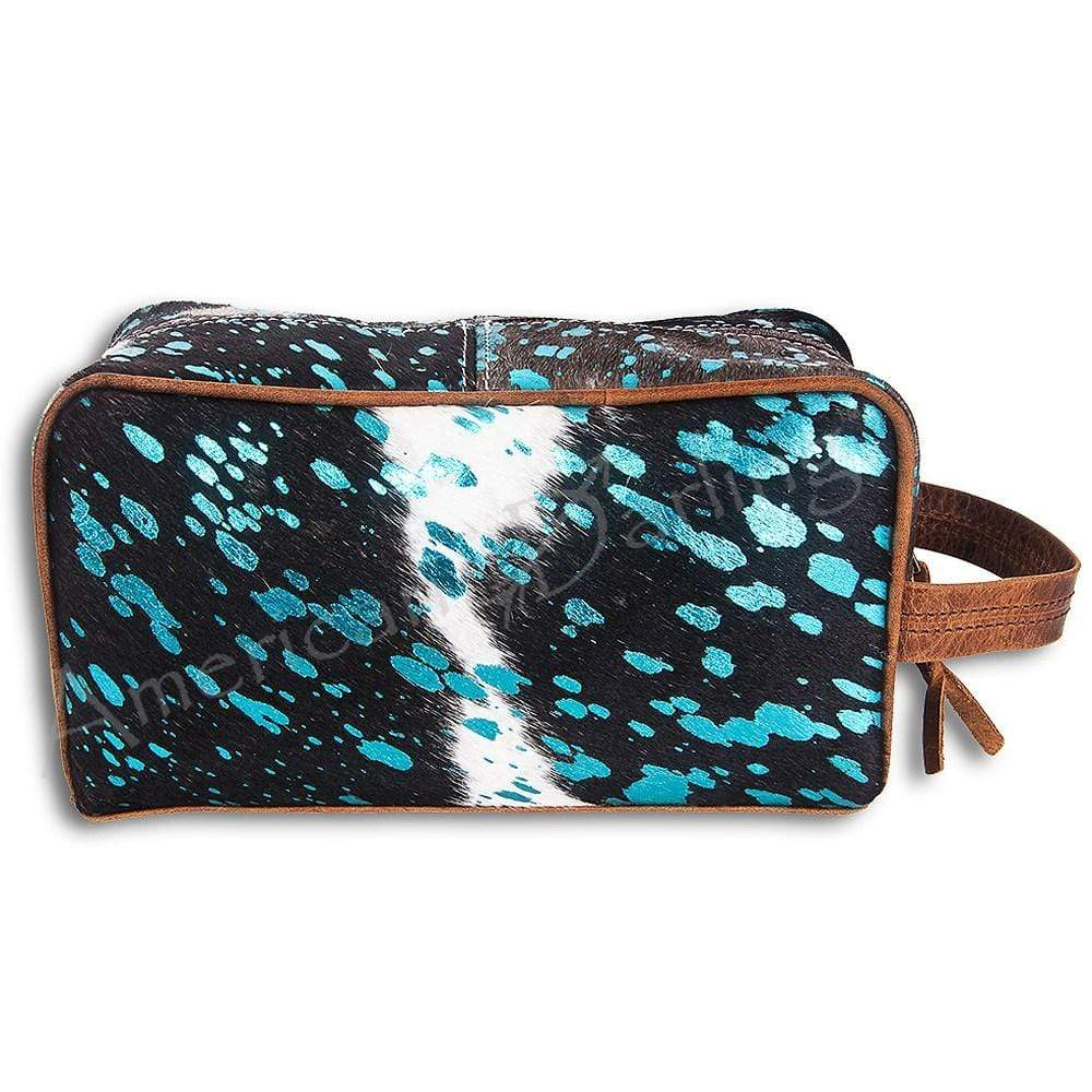 American Darling Handbags Black and White Cowhide Toiletry Bag With Turquoise Accents