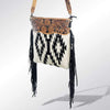 American Darling Handbags Black & White Woven Aztec Crossbody Purse With Fringe