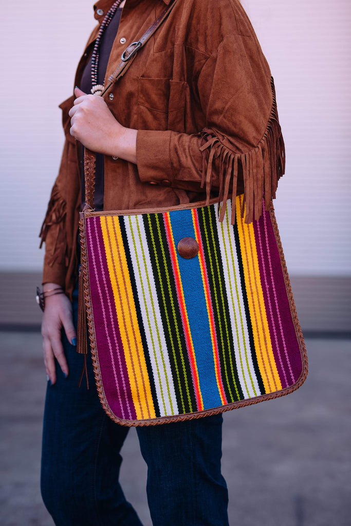 American Darling Handbags Blanket Crossbody Purse with Leather Back - Bright Stripes