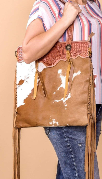 American Darling Handbags Cowhide with Tooled Leather Fringe Purse