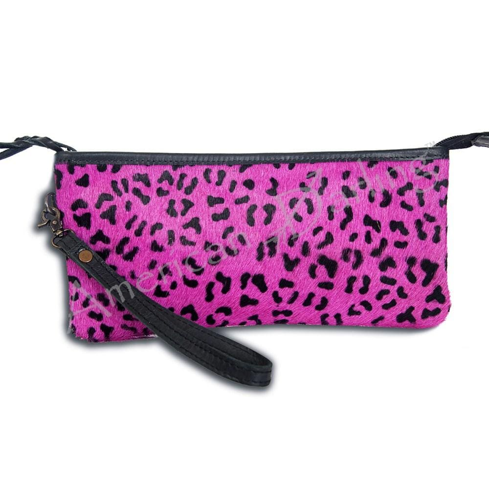Dawn Leopard Hair on Hide Wristlet
