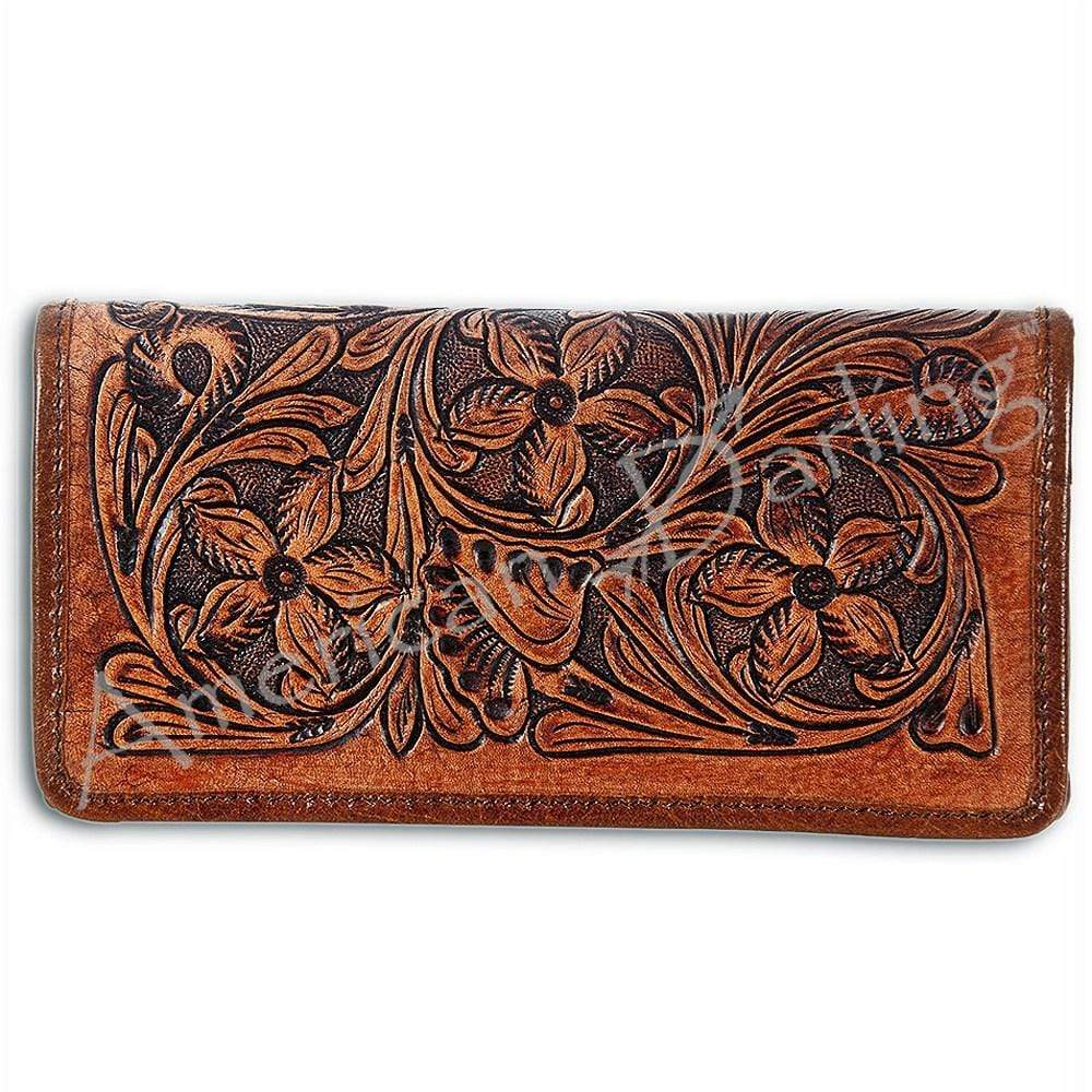 Brown Leather Tooled Wallet