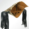 American Darling Handbags Leopard Leather Fringe Clutch